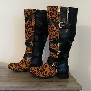 Leopard Print Boots -Size 9